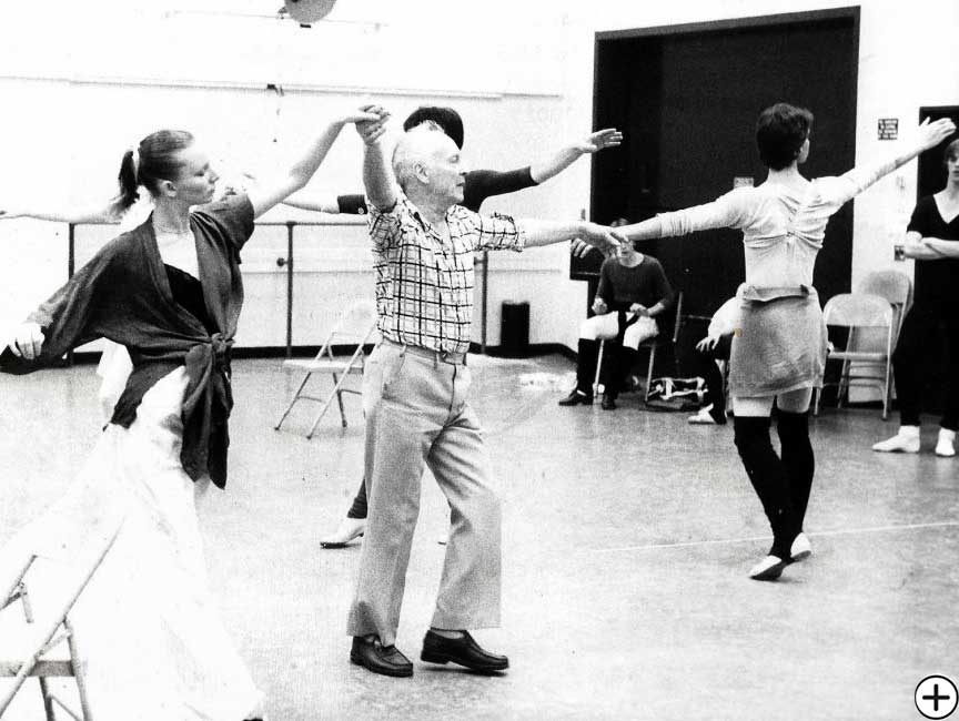 Garielle Whittle with George Balanchine during the making of Vienna Waltzes 1977, Choreography by George Balanchine, © George Balanchine Trust