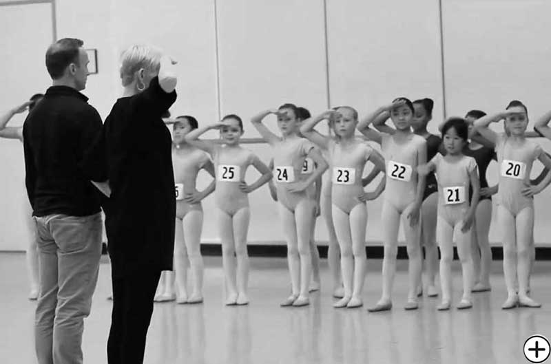 Garielle Whittle with Peter Boal at Pacific Northwest Ballet Soldier Casting for George Balanchine's The Nutcracker